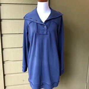 Soft Surroundings Blue Sweatshirt W Buttons Size M